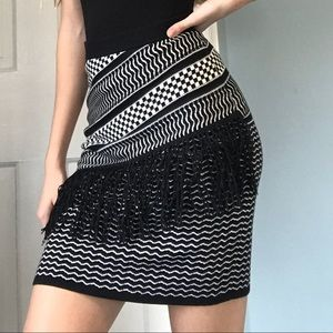 Stretchy Knit Skirt with Fringe